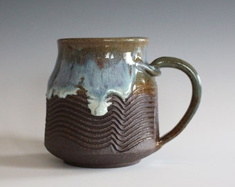 Coffee Mug, 12 oz, handthrown ceramic mug, stoneware pottery mug, unique coffee mug