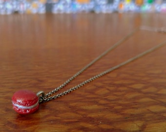 Made to Order Sterling Silver Cable Clay French Macaron Necklace-Rose Red