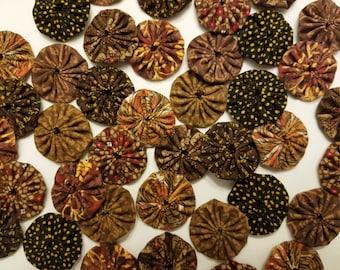 40 Assorted Brown Prints 1 inch  Fabric Miniature Yo Yos Applique Quilt Pieces Scrapbooking Embellishments
