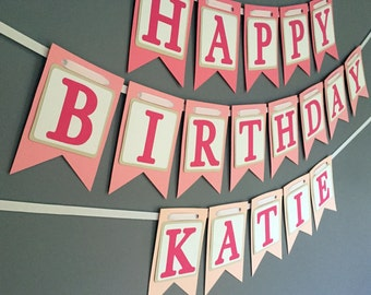Happy Birthday Banner - Pink Ombre - Girls Birthday Banner - Purple Banner - Spa Party - Slumber Party