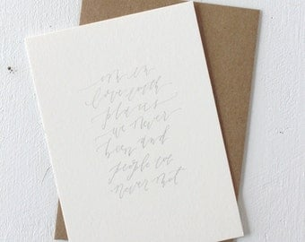 Card with Envelope: Calligraphy, Places Quote