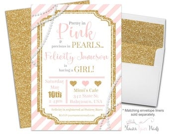 Glitter and Pearls Baby Shower Invitation, Pink and Gold Baby Shower Invitation, Pearl Baby Sprinkle, Baby Shower Invitation Girl