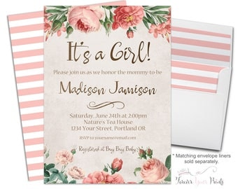 Boho Baby Shower Invitation - Floral Baby Shower Invitation - Floral Baby Shower Invite - Rustic Baby Shower Invite - It's A Girl - Coral