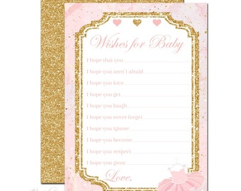 TUTU Advice for Baby Cards, Wishes for Baby Card, Tutu Baby Shower, Ballerina Baby Shower, Baby Shower Game, Advice Card, Pink & Gold Marble