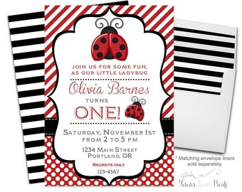 Ladybug Invitations - Ladybug Invites - Ladybug Birthday Invitations -Ladybug Party Invitations - Ladybug Birthday Party - Girls Birthday