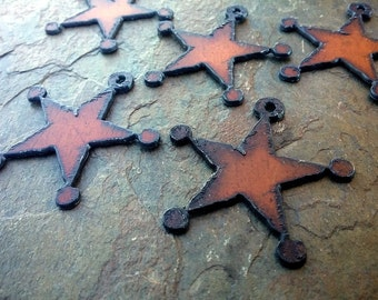 """Rusty Sheriff's Badge, Charm, Rusty Cowgirls, 2"""", Rusted Iron Pendant, Priced per Piece"""