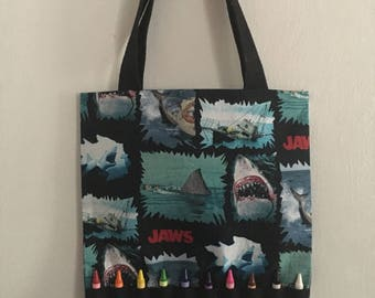 Inspired Jaws coloring crayon bag. Shark coloring bag.