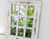 MEGA SALE Rustic Farmhouse Window Mirror~Window Pane Mirror~Shabby Chic Mirror~Large Wall Mirror~Vintage Style