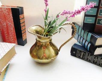 Vintage Brass Pitcher or Flower Vase, Cottage Chic Ewer, Brass Wedding Decor
