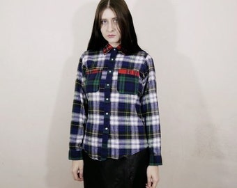 90s grunge womens patchwork flannel long sleeve collared button down size s
