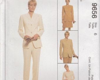 Lined Jacket Pattern Skirt Pants Wardrobe Misses Size 6 uncut McCalls 9656