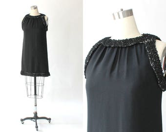 1960s Lorrie Deb Cocktail Dress // 60s Vintage Short Black Formal Shift Dress with Metallic Detail // Small