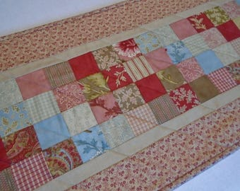 Floral Quilted Table Runner, Quilted Table Topper, Table Quilt in Rosy Red, Brown and Beige, Quilted Table Centerpiece, Autumn Lily Runner