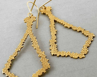 Bronze Hand-Cut Earrings Open Frame with Textured Finish Handmade Prom Jewelry