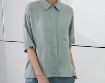 Gray summer blouse, short sleeve button blouse, collar shirt, drop shoulder sleeves, minimal shirt, green blouse, oversize shirt, office top