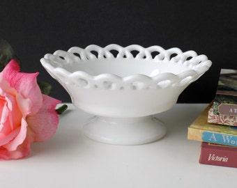 White Glass Lace Edge Bowl. Wedding Table Decor. Tea Party Tableware. Candy Dish. Housewarming Gift. Vintage Glassware. Cottage Whites.