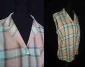 Tan & Turquoise Plaid ROCKABILY Vintage 1950's Women's Sleeveless Top Shirt S