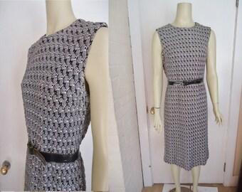 Bumpy Black Knit Vintage 1950's Women's Hourglass Sweater Dress M L