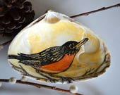 Robin Bird Ring Holder Dish, Bird Lover Gift, Bird Ring Dish, Hand Painted Bird Art on a Clam Shell