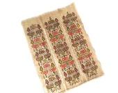 Vintage Embroidered Hopsack Wall Hanging ... Panel, Table Scarf, Remnant, Coral and Green, Craftsman, Arts and Crafts, Linen, Geometric
