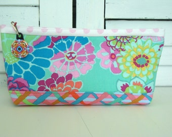 Cosmetic Bag. Cotton Fabric. Pouch. Zipper Makeup Bag. Travel Organizer. Toiletry Bag. Vacation.  Bridal Shower Gift.
