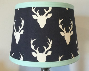 Nursery Lamp shade Navy Mint Buck Antler Woodlands