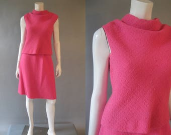 60s Mod Suit Set - Hot Pink Wool  Sleeveless Top -  A Line Skirt - 1960s Designer B H Wragge - Medium Cocktail Suit