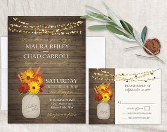 Rustic Fall Wedding Invitations Set Printable Fall Wedding Wheat Stalks  Fall Leaves Gerbera Daisy Wood Digital