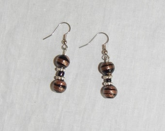 Black, bronze and silver earrings