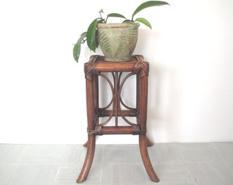 Mid century bamboo plant stand~small table~boho ~Asian decor