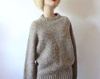 Vintage Ragg Wool Sweater crew neck chunky knit pullover