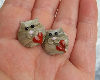 Pair of cute glass cat beads / loose beads / jewelry supplies / animal beads / ukhandmade
