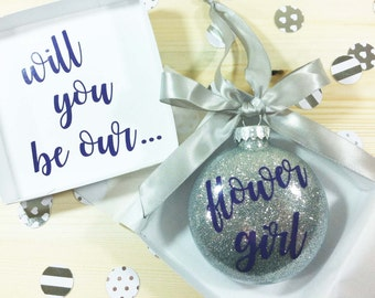 Will You Be Our Flower Girl Ornament, Maid of Honor Proposal, Personalized Bridesmaid Gift, Flower Girl Gift, Bridesmaid Proposal