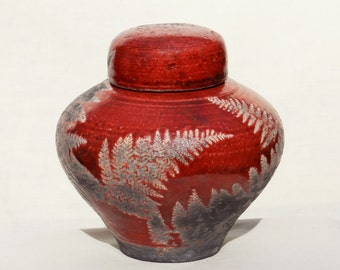 Red Raku Urn,5 in. Small Handmade Ceramic Jar for Crematory Ashes, Decorative Floral Fern Home and Living Funeral Keepsake for Pet Woodland