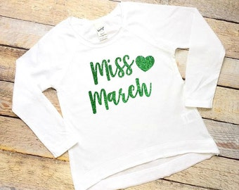 Miss March green glitter white long sleeve shirt