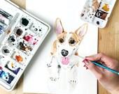 Custom Corgi Portrait, Pet Loss Gift, Dog Memorial Portrait, Sympathy Gift, Original Watercolor Dog Portrait