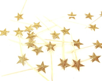 24 Elegant Petite Gold Glitter Star Cupcake Toppers - Food Picks - Party Picks