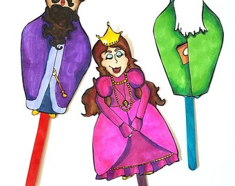 PURIM PUPPETS - fun printable purim characters puppets - a Purim toy for kids - Instant digital download