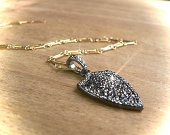 Sparkling Pave Hematite Gemstone WARRIOR's SHIELD Necklace - CHOOSE Chain Material and length - Rustic, Magnetic Bling Your Daily Jewels