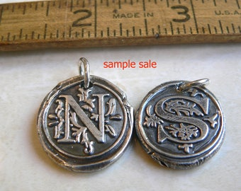 SAMPLE SALE -- Extra large Sterling Initials -Wax Seal Jewelry, FREE Shipping within the U.S.  - Your Daily Jewels