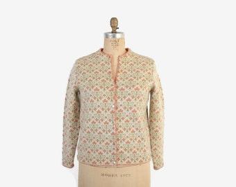 Vintage 60s CARDIGAN / 1960s Pink & Green Jacquard Wool Cardi Sweater M - L