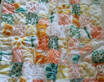 Sweet vintage chenille baby quilt, boys or girls, crib quilt,  chenille baby blanket, chenille bedspread, baby shower gift, photo prop