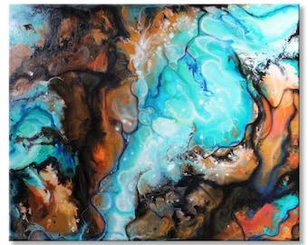 Original Abstract Painting Textured 31.5x38 Acrylic Blue Aqua Sand Brown Ocean Sea Shore Fine Art by Federico Farias