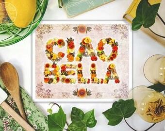 Ciao Bella, italian decor, italian quote, mixed media collage art, fine art print, giclee print, bohemian art, boho decor, kitchen art