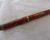 Antique writing accessory, Ideal Watermans, fountain pen, marbled rust and black,gold filled nib, 1909 pen,calligraphy