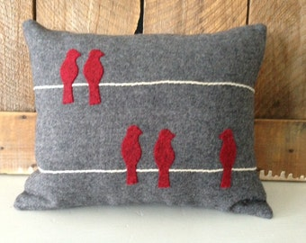 Red Birds on Wire on Gray Wool Pillow JKB