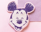 Mickey Mouse iron on patch vintage diy kitschy pastel goth disney mouse ears purple and pink