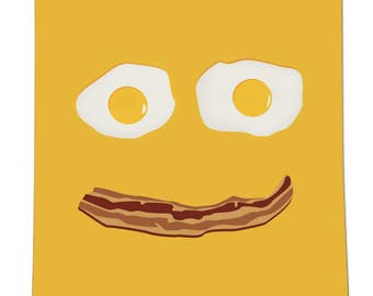 "Bacon and Eggs Smile, 8""x10"" Poster, Vector Illustration"