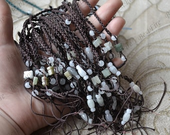 4 strands Natural jadeite Necklace coffee Rope necklace findings, adjustable necklace findings