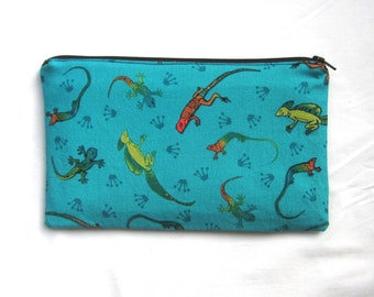 Lizards Fabric On Turquoise Fabric Zipper Pouch / Pencil Case / Make Up Bag / Gadget Sack